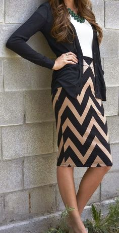 Chevron pencil skirt with cardigan and statement necklace. Whats not to love about the classy look?! $24.99!!  www.sunglass-stores.com