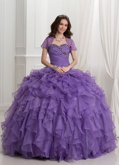 Ericdress Beading Cascading Ruffles Ball Gown Quinceanera Dress With Shawl USD Sweet 16 Dresses, Cheap Dresses, Dresses For Sale, Short Dresses, Pretty Dresses, 2 Piece Quinceanera Dresses, Quinceanera Ideas, Gown Dress Online, Dress With Shawl