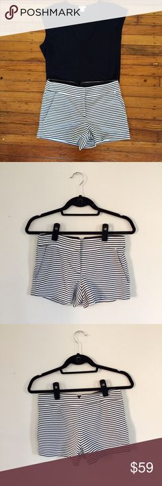 BCBGMAXAZRIA Black and White Striped Shorts These shorts are so much fun to wear! They make a statement while also being classy and professional! They are in great condition, like new! $59 or best offer! BCBGMaxAzria Shorts