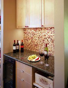 wine cork backsplash-- yes please!
