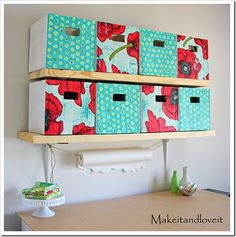 Make It and Love It created these fabric covered cardboard boxes!  They're Perfect!!