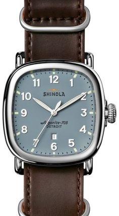 Shinola The Guardian Leather Strap Watch, 41.5mm x 43mm