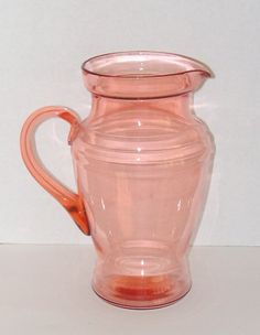 Vintage Glass Pitcher Pink Dunbar Elegant Depression by Remtique, $35.00