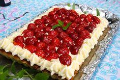 jordbærkage, jordbærtærte, jordbær dessert