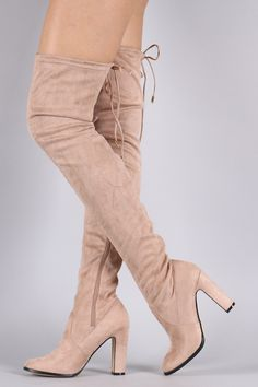 5aa3e85105e Suede Drawstring Heeled Over-The-Knee Boots. Thigh High ...