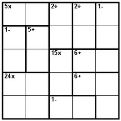 Number Logic Puzzles: 21383 - Kenken size 5