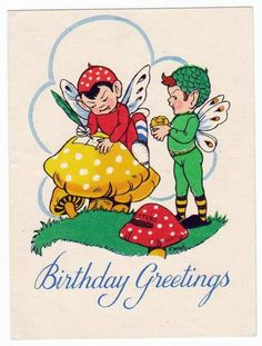 Cute Vintage Greetings Card. The R.A.P.Co Ltd, London.  Writing Elves. Used..