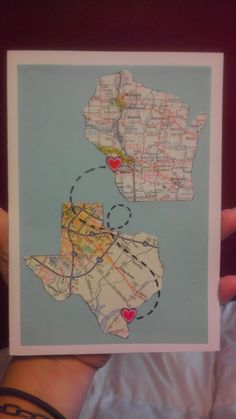 travel moving friendship long distance state map card stationery love heart