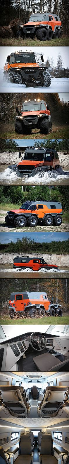 Avtoros Shaman 8×8 all-terrain vehicle – the end all, be all for ATVs.  Measuring in at 6 meters long, 3 meters high, and 2.5 meters wide, this 2.5-ton beast can tackle literally any terrain, from land and snow right down to floating through water. The vehicle is powered by an Iveco F1C 3.0-liter turbo diesel that pumps out 146-horsepower through a 6-speed manual gearbox