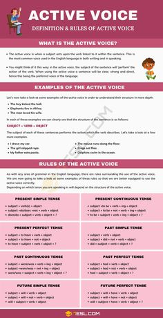 Active Voice English Spelling, Teaching English Grammar, English Writing Skills, English Vocabulary Words, Teaching Writing, English Tips, English Study, Learn English, Active And Passive Voice
