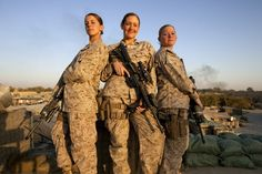 17 Things Women Are Already Doing In The Military : Seargent Sheena Adams (left), Lance Corporal Kristi Baker (right), and U.S. Marines and Hospital Corpsman Shannon Crowley, members of a Female Engagement Team, November 2010. Bravo.