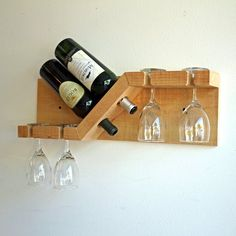 Rustic Wood Wine and Glass Rack Wall mounted Small Wood Wine image 4 Wine Glass Shelf, Wine Glass Holder, Wine Bottle Holders, Glass Shelves, Wall Shelves, Small Wine Racks, Unique Wine Racks, Rustic Wine Racks, Wood Wine Holder