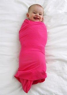 DIY swaddle blanket-a yard of jersey knit material and cut it in half along the line that it already had from being on the bolt. The edges just curl up so no need to hem! This makes two very lightweight, stretchy blankets! You could get away with less than a yard if it's for an newborn