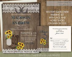 Lace wedding Invitations Set Western Wedding Invitation Sunflowers in Mason jar with Lace Wood Horseshoes Cowboy Boots Printable Digital by NotedOccasions
