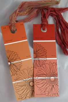 Book marks - made from those paint samples that you love the color of, but would never use for your walls! :) Just stamp a pretty pattern on top. Great idea and practically free!