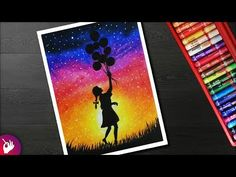 This is an Oil pastel drawing. Girl with balloons drawing for beginners with Oil Pastel which is a step by step drawing. Oil Pastel Paintings, Oil Pastel Drawings, Cool Art Drawings, Easy Drawings, Pencil Drawings, Oil Pastels, Soft Pastel Art, Its A Girl Balloons, Drawing For Beginners