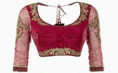 beautiful piece of handwork on rani pink blouse
