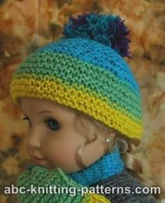 Easy American Girl Doll hat with pompom. Free knitting pattern. Pattern category: Doll Clothes American Girl Doll. Fingering weight yarn. 0-150 yards. Easy difficulty level.