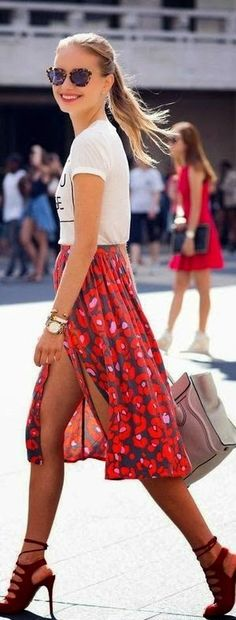 Printed Hot Mini Skirt with Red Heels | Spring Chi...