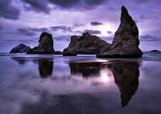 purple sky reflecting on the sea Nature's Miracle, Water Images, Soul Surfer, Purple Sky, Oregon Coast, Bandon Oregon, Water Photography, Nature Scenes, Monument Valley