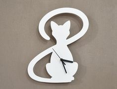 Cat With Big Tail  Silhouette  Wall Clock by SolPixieDust on Etsy