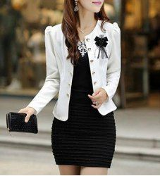 $7.86 Stylish Style Scoop Neck Double-Breasted Bow Knot Embellished Long Sleeves Slimming Blazer For Women