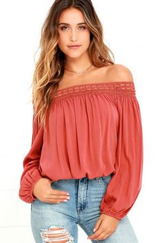 Festival Day Terra Cotta Lace Off-the-Shoulder Crop Top