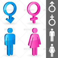 Gender Symbols — Vector EPS #character #person • Available here → https://graphicriver.net/item/gender-symbols/3020662?ref=pxcr
