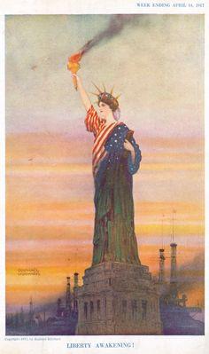 """ from Puck Magazine, April Visual Studies Collection, Library of Virginia. Political Images, Political Cartoons, April 14, World War I, Wwi, Awakening, Liberty, Virginia, Politics"