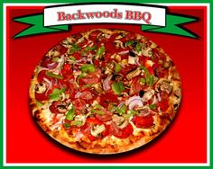 Backwoods BBQ  BBQ Sauce, mozzarella, fresh mushrooms, Canadian style bacon, bell peppers, red onions & real crispy bacon
