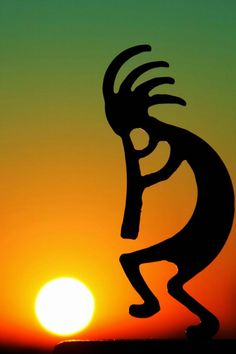Kokopelli Sunrise - Kokopelli is a fertility deity, he is also a trickster god and represents the spirit of music - Native American culture