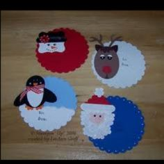 Punch art Christmas TAGS by - Cards and Paper Crafts at Splitcoaststampers Christmas Card Crafts, Christmas Tag, Christmas Decorations To Make, Handmade Christmas, Christmas Stuff, Winter Christmas, Holiday Crafts, Holiday Fun, Punch Art
