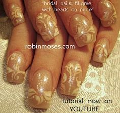 bridal classic filigree romantic nail art   www.youtube.com/watch?v=Px83rmqN7h0