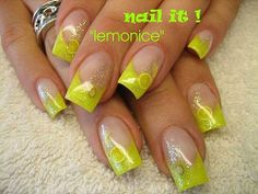 Posted By Muhammad Basharat Party Nail Designs 2011 You don't have to limit yourself to a mono colored manicure when you have the cha. Lime Green Nails, Yellow Nails, Acrylic Nail Art, Gel Nail Art, Flower Nail Designs, Nail Art Designs, Neon Nails, My Nails, Party Nail Design