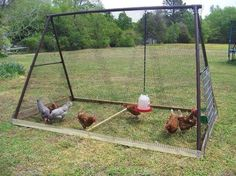 use old swing set covered in wire as enclosed chicken coop or vege garden