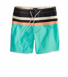 AE Colorblocked Stripe Swim Trunk