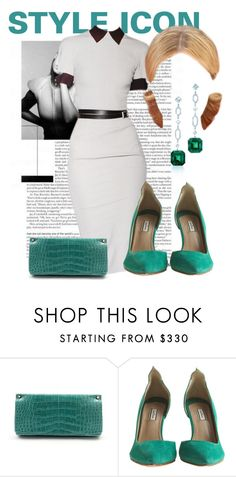 """""""Shades of green"""" by ivanoe ❤ liked on Polyvore featuring Victoria Beckham, Jimmy Choo, By Malene Birger and Tiffany & Co."""