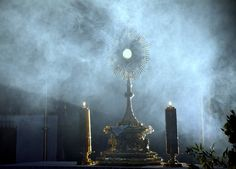 Adoration in St. Mary's Church in Cracow, Poland, yesterday