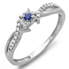 14K White Gold Round Blue Sapphire And White Diamond Crossover Split Shank Ladies Bridal Promise Ring *** Check this awesome image  : Promise Rings