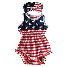 baby rompers | Qin.Orianna 4th of July Toddler Baby Girl American Flag Tassel Romper with Headband