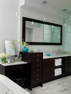 would be so pretty to have darker stained cabinets, add hardware and use this color scheme. Except beige with our bathroom