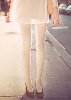 Pearl embellished tights.