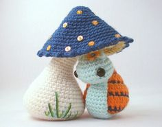 download a FREE pattern every day. ~ Snail & Shroom, There's also a cute little gnome pattern on here! |  Crochet Stash .Tumblr .Com