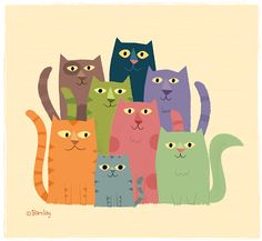Cat Family - Don't Let The World Of Cats Confuse You. Read This Expert Advice Today! - Cat and Kittens Art And Illustration, Illustrations, Cat Quilt, All About Cats, Cat Colors, Cat Drawing, Whimsical Art, Cat Love, Crazy Cats