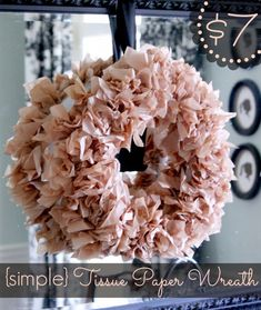 Tissue Paper Wreath - Passionate Penny Pincher, think about making this without the styrofoam. With cardboard? Tissue Paper Wreaths, Tissue Paper Crafts, Tissue Paper Flowers, Diy Paper, Diy Spring Wreath, Diy Wreath, Burlap Wreath, Make Your Own Wreath, How To Make Wreaths