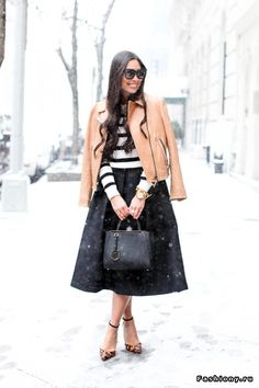 Leather moto jacket and midi skirt. I would wear boots though!
