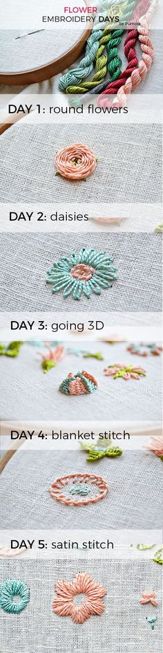 The flower embroidery days - learn to embroider flowers with step-by-step photo tutorials