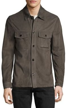 TOM FORD Suede Utility Shirt Jacket, Gray