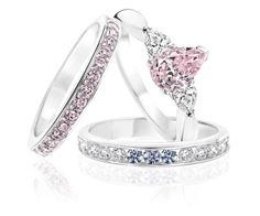 Pink and blue diamond rings