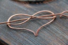 Hair slide hair barrette copper Infinity heart by Keepandcherish Copper Wire Art, Copper Hair, Copper Jewelry, Hair Jewelry, Jewellery, Hammered Copper, Infinity Heart, Infinity Symbol, Double Infinity